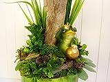 Deko Muttertag Wohndeko Wohnaccessoire ES GRÜNT SO GRÜN Froschkönig Saisondeko Deko Sommer Deko Frühjahr Tischdeko Floralesl Arrangement Grün Gold - 8