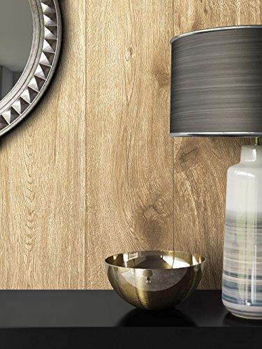 Holz-Muster-Tapete Vlies Braun Beige Edel | schöne edle Tapete im Holzwand-Design | moderne 3D Optik für Wohnzimmer, Schlafzimmer oder Küche inkl. Newroom-Tapezier-Profibroschüre mit super Tipps! -