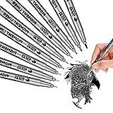 Fineliner Penne, Lypumso 9 PCS Penne da Disegno, Nero Pigmento Pennarelli con Punte di Spessori Differenti, per Disegnare/Pennarelli/Calligrafici/Disegno Fumetti/Schizzo/Anime/Artisti Illustrazione