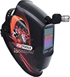 KS Tools 310.0185 Schweißer-Schutzhelm mit integrierter Kopflampe, Schutzhelm Racing Design zum Schweißen, vollständiger Halsschutz, Leuchtdauer ca. 3 Stunden, inkl. 3 Batterien und Solarzellen, bis zu 100 m Leuchtweite