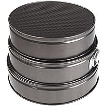 Ger - Molde de Horno Desmontable Redondo - Revestimiento Antiadherente - Set de 3 Moldes de 22, 24 y 26 cms.