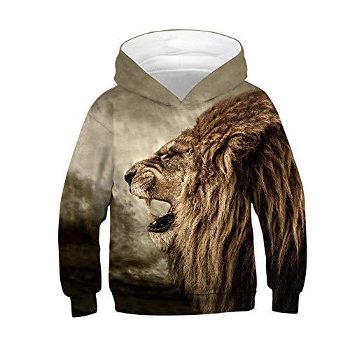 Q&S Goldener Löwe Sweatshirt Hoodie Pulli Jungen Mädchen Hoodies 3D Print Pullover Sweatshirts Kapuzenpullover Braun 155cm-160cm(XL)