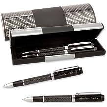 LOGIC - Etui mit SCHREIBSET CARBON MÄANDER 2-teilig mit Kugelschreiber und Druckbleistift mit Gravur