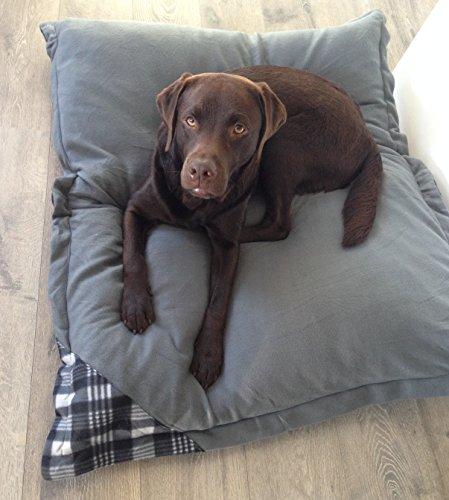 Hundebett XXXL grau, 120×100 cm, Hundekissen waschbar, Tier-Kissen - 3