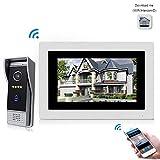 Jeatone 7 Zoll Wired Wifi IP-Video-Türsprechanlage Türklingel Intercom-Entry-System mit 1200TVL Wired Kamera Nachtsicht Unterstützung Remote Entriegelung Aufnahme Snapshot für Villa