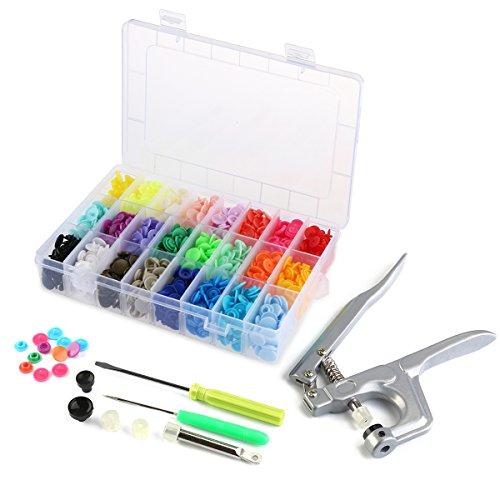 OUNONA T5 Druckknopf Set Snap Zange Mit 360 Stück Druckknöpfe,Einschließlich Organizer Aufbewahrungsbehälter (Farbige Kunststoff-taschen)