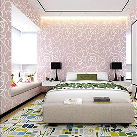 Dream's Story Non Woven Murals Wallpaper, Vintage Luxury Pink Rose Damask Embossed Flocking Wallpaper Roll Background Wall Stickers for Living Room Bedroom TV Backdrop Hotel Decor 0.53 * 10m (20.9*393.7inches) (Flower pink)