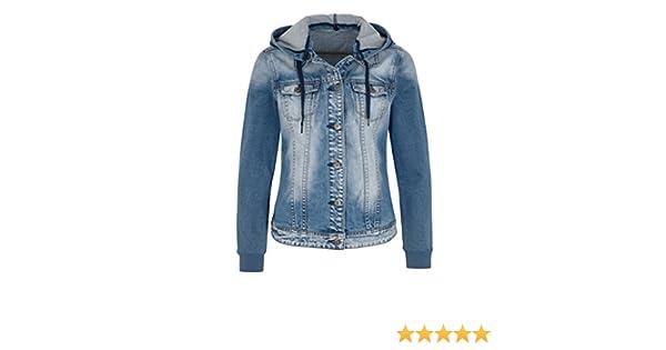 ee09b271ed66 MillionX - Damen Jeans Jacke mit abnehmbarer Kapuze F S 2016 (2156100),  Größe 46 Farbe Light blue denim (910)  Amazon.de  Bekleidung