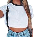 Baijiaye T-Shirt Femme Manches Courtes T-Shirt Couleur Pure Tee Shirt Eté Respirant Crop Tops Occasionnels Navel Exposé Lâche Pull T-Shirt Blanc S