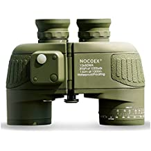NOCOEX® 10X50 prismáticos Batallón con telémetro interno y la brújula militar impermeable Binoculars- Ejército Verde