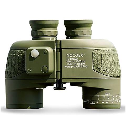 NOCOEX® 10X50 Battalion Fernglas mit internem Entfernungsmesser und Kompass Militär Wasserdichtes Binoculars-