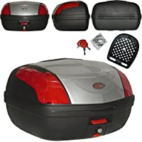 A-pro Top Case 46 LT Baúl de Moto Universal, Quick Release, para Motocicleta y Scooter, Color Plata