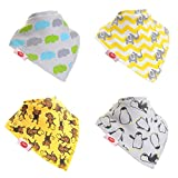 Baby Bandana Dribble Bib Super Absorbent Premium Dribble Bibs Adjustable Poppers (4 Pack Gift Set Baby Shower) ~ Multi-Award Winning ~ Gift Of The Year Finalist ~ 200+ Designs ~ UK Family Company ~ Designed by Parents ~ Official Brand License partner ~ Real Parent Reviews ~ Stocked on Amazon since 2012 ~ Baby Boy Bibs ~ Baby Girl Bibs ~ Unisex Gender Neutral Bibs, Drool Bibs, Teething Bibs, Drooling Bibs ~ Fit Newborn Infant Toddler, 0 months, 6 months (Animal Prints)