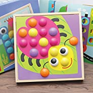 Alician Creative Mushroom Nails Wooden Jigsaw Puzzle Mosaic Pegboard Educational Toys for Kids Gifts Toys