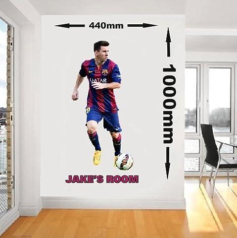 Personnalisée Messi Barcelona joueur de football en vinyle Art Mural en vinyle, 1000mm x 440mm