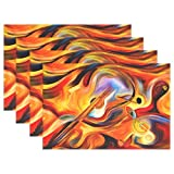 GOODSTHING napperon, Abstract Guitar Music Note Placemat Table Mat, Inner Melody 12'...
