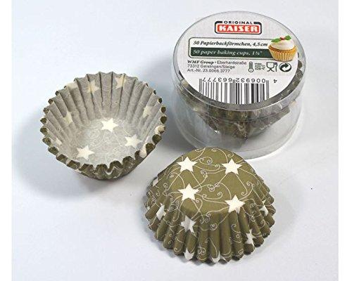 Kaiser Mini-Muffinförmchen olive mit Sternen aus Papier, 50 Stück