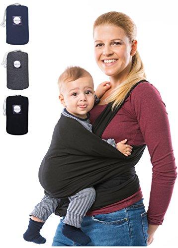 KOMO´LOLE® Premium Babytragetuch | elastisches Tragetuch für Früh- und Neugeborene bis 15 kg | inkl. Trageanleitung | Trage dein Baby mit Liebe und KOMO´LOLE (Schwarz) (Pullover Wickeln Erwachsene)