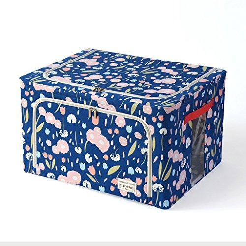 Brilliant firm scatola portaoggetti in cotone e lino supporto struttura in acciaio scatola rivestita scatola pieghevole per vestiti (color : blue, size : 50*40*32.5cm)