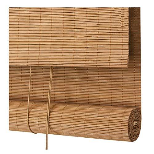 PENGFEI Bambus Rollo Schatten Bambusrollo Raffrollos Draussen Wasserdicht Vorhang Aufhängen Terrasse Sonnenschutz, Karbonisierte Farbe, Größenanpassung (größe : 90X180CM)