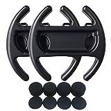 Hikfly 2 piezas Volante Controladores de Agarre Manual Conjunto para Nintendo Switch / NS / NX Joy-Con Con 8pcs Silicona Gel Agarraderas (Negro)