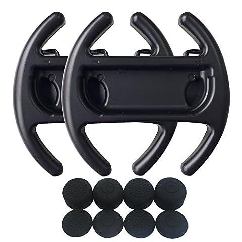 Hikfly 2pcs Volant Contrôleurs de Poignée Ensemble Pour Nintendo Switch / NS / NX Joy-Con Avec 8pcs Silicone Gel Poignées de pouce (Noir,