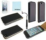 iPod Touch 5th 6th Generation Genuine Leather Case, iPod Touch 5/6 Case Genuine ZAFOORAH Flip Case with 3 Bonus items Stylus, Screen Protector, Microfiber Cloth (Genuine Leather - Flip - Black)