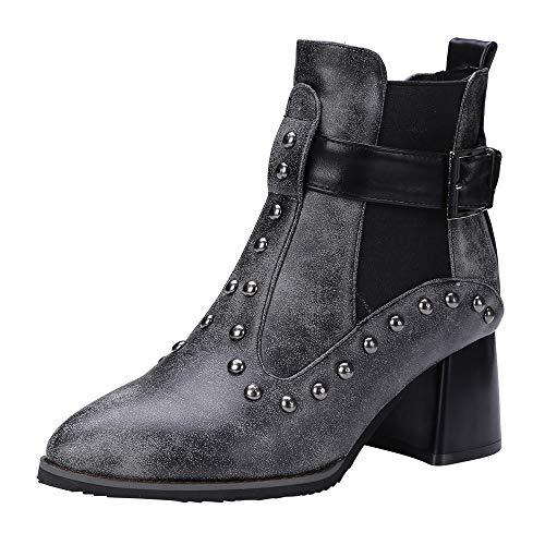Bottes Courtes Femmes, Manadlian Bottes en Cuir Mode Bottes à Rivets Martin  Shoes Belt Buckle 954a9be3343f