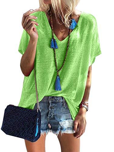 Damen Sommer Kurzarm Blusen T-Shirt V-Ausschnitte Loose Oversize Shirt Oberteile Grün DE 36 - Leichtes Print-tunika