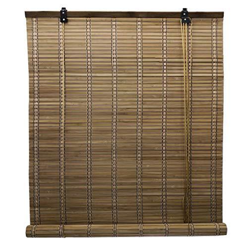 Solagua 6 Modelos 14 Medidas de estores de bambú Cortina de Madera persiana Enrollable (135 x 135 cm, Marrón)