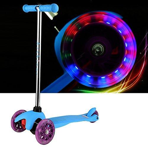 Preisvergleich Produktbild Arshiner Kinderroller Dreiradroller klappbar Sicherheit T-Lenker mit Bremse und Licht Umweltschutz Blau Kinderscooter Scooter Kickboard Tretroller