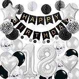 Happyhours Geburtstagsdeko 18 Geburtstag Deko Jungen Schwarz Weiß, Pompons Birthday Girlande 18 Folienballon, Latex Ballons Silber Konfetti Luftballons Wabenbälle und Wimpelkette Deko Set