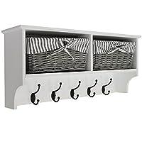 WATSONS HALLWAY - Wall Storage Shelf with 2 Baskets and 6 Coat Hooks - White/Grey