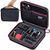 Smatree SmaCase G160 - Medium Case for GoPro Hero4, 3+, 3, 2, 1 and Accessories- Travel & Household Case with Excellent Cut Foam Interior - Black & Red