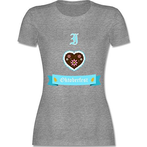 Shirtracer Oktoberfest Damen - I Love Oktoberfest - Damen T-Shirt Rundhals Grau Meliert