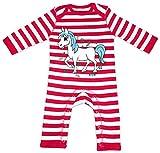 HARIZ Baby Strampler Streifen Pferd Pony Süß Tiere Kindergarten Plus Geschenkkarte Feuerwehr Rot/Washed Weiß 12-18 Monate