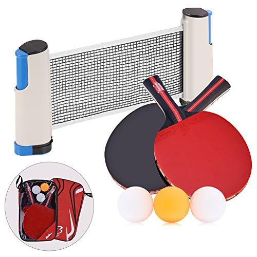 Tischtennis-Set+2 Profi-Paddel + Einziehbares Netz + 3 Premium-Bälle