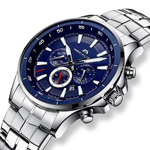 Herren Uhren Männer Wasserdicht Chronograph Luxus Designer Edelstahl Silber Armbanduhr Mann Sport Modisch Datum Kalender Analog Uhr