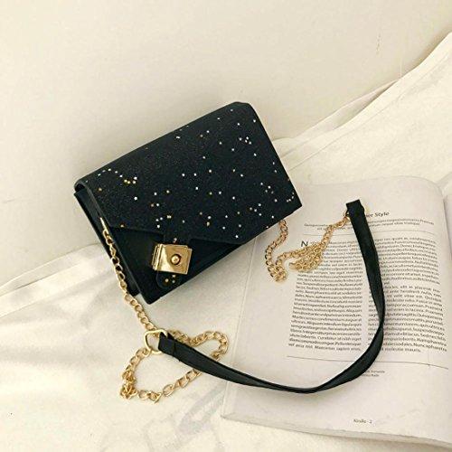 Sansee Mädchen Schultertaschen Damen Handtasche Frauen Umhängetasche Sterne Pailletten Vorhängeschloss Damenhandtaschen Schwarz