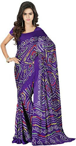 STYLISH SAREES FANCY DESINER RAJASTHANI bandhni PRINT GEORGET SAREE  available at amazon for Rs.499