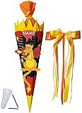 Unbekannt BASTELSET Schultüte -  Drache mit Feuer  - 85 cm - incl. großer Schleife + Name - mit / ohne Kunststoff Spitze - Zuckertüte - Set zum selber Basteln - 6 eck..