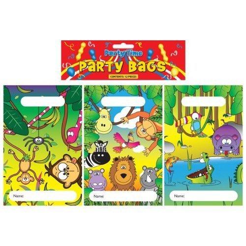 Confezione Da 12 Jungle Party Sacchetti 15x22cm (3 Disegni Assortiti)