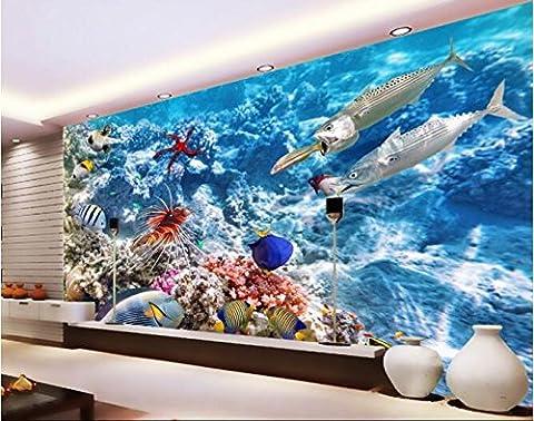 LWCX 3D Wallpaper benutzerdefinierte Wandbild Seidentuch Wall Sticker 3D-Unterwasserwelt tropischer Fisch Foto 3D Wandbilder Tapeten 308X220CM