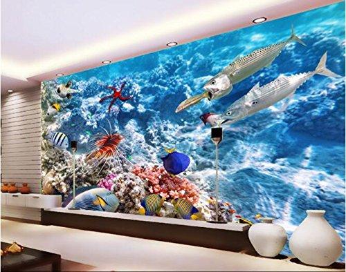Malilove 3D Wallpaper Benutzerdefinierte Wandbild Wandaufkleber Unterwasserwelt Tropischer Fisch Fische Foto 3D Wandbilder Tapeten Zu Essen
