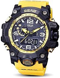 Logobeing Reloj LED Digital Hombre Pulsera Relojes Deportivos Impermeables Electrónica Digital (Amarillo)