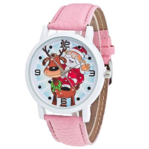 Zolimx Weihnachten Älteres Muster Lederband Analog Quartz Vogue Uhren (Und Nähen Engel Kostüme)