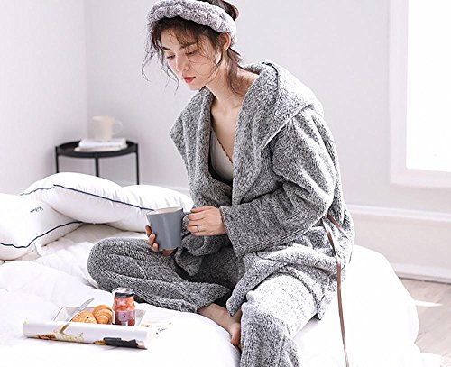 i pigiami incappucciati di inverno delle donne hanno regolato il manicotto lungo i vestiti casuali molli monocromatici di 2 pezzi Colore dell'immagine
