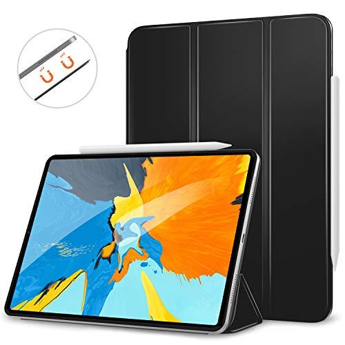 MoKo Hülle für iPad Pro 11 2018, Schlanke Schutzhülle mit Magnetisch Befestigung und Ladung für Stift, Auto Schlaf/Aufwach Funktion Smart Case - Schwarz