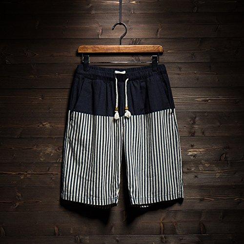 HOOM-Nouveau pantalon de plage d'été occasionnels Shorts hommes Camo coton taille lâche cinq pantalons shorts Striped g