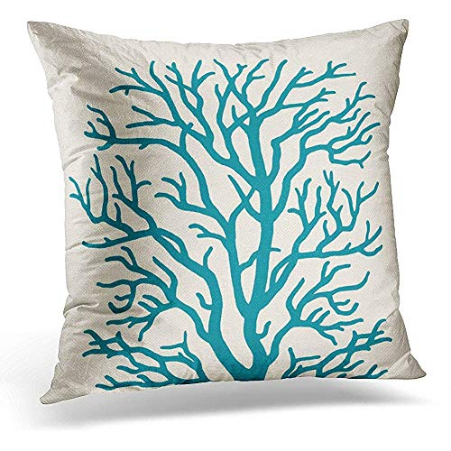 tgyew Throw Pillow Cover Tan Reef Coral Tree in Teal Green Branches Decorative Pillow Case Home Decor Square 18 x 18 Inch Pillowcase